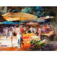 Schilderij van een markt  in Parijs - Stad en Land schilderijen
