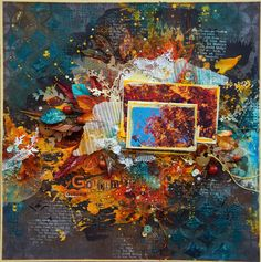 Handmade by Smilla: Page about the golden autumn Mixed Media Scrapbooking, Scrapbooking Layouts, Scrapbook Pages, Altered Books, Altered Art, September Colors, Collage Background, Mixed Media Collage, Samhain