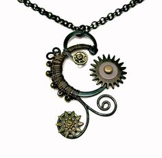 STEAMPUNK NECKLACE Wire Wraped Gears by UniqueCreations1111, $24.00