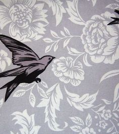 45'' Home Essentials Fabric-  Black & Gray Bird Floral