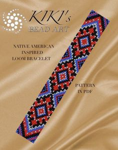 Bead loom pattern - Native American ethnic inspired LOOM bracelet pattern in PDF - instant download de KikisBeadArts en Etsy https://www.etsy.com/es/listing/276978162/bead-loom-pattern-native-american-ethnic