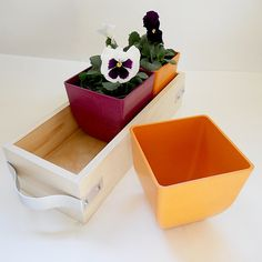wooden flower box caddy