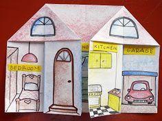 Se creará una casa movible para los muñecos recortables. La casa tendrá cuantas habitaciones se deseen, ya que se puede doblar y desdoblar el papel como se quiera.