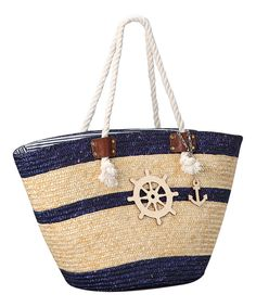 Look at this Straw Studios Navy Helm Tote on #zulily today!