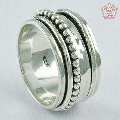 Sz 12 US, HANDMADE LITTLE BALL DESIGN 925 STERLING SILVER SPINNER RING, R4641 #SilvexImagesIndiaPvtLtd #Spinner #AllOccasions