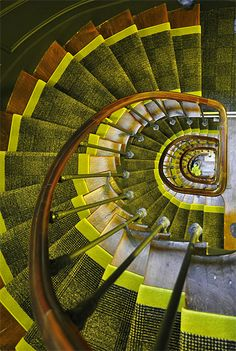 Spiral stairs with rug pattern. Grand Staircase, Staircase Design, Winding Staircase, Spiral Staircases, Interior Stairs, Interior And Exterior, Beautiful Stairs, Tapis Design, Take The Stairs
