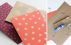 Dot envelopes with gold dots http://www.thedieline.com/blog/2013/12/12/15-creative-diy-gift-wrap-ideas.html