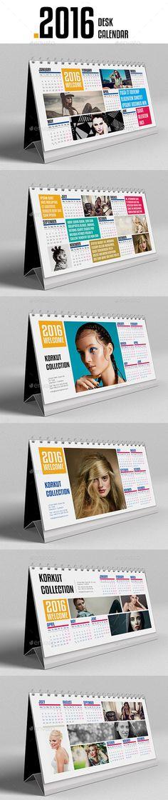 Desk Calendar 2016 Template InDesign INDD #design Download: http://graphicriver.net/item/desk-calendar-2016/13233497?ref=ksioks