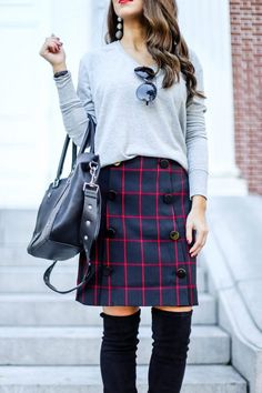 Plaid Skirt for Fall and Winter. Plaid Skirt. Work Wear. Outfits for Work. Skirts for Work . Plaid Outfits. Plaid for Fall. #plaid #skirts Black Over the Knee Boots.