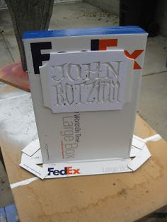 make a gravestone halloween prop with a fedex box and foam core