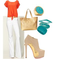 orange chic, created by megantinley.polyvore.com
