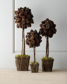 """Three """"Alpine"""" Pine Cone Topiaries In order to have a wonderful Modern Garden Decoration, it is beneficial to be open … Pine Cone Art, Pine Cone Crafts, Pine Cones, Pine Cone Decorations, Christmas Decorations, Holiday Decor, Rustic Christmas, Christmas Crafts, Christmas Christmas"""