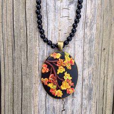 Autumn Polymer Clay Leaf Necklace by ArtfulParadox on Etsy, $35.00