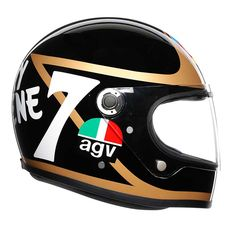 "AGV Barry Sheene"" retro full face helmet of the AGV Legends Collection. AGV helmets at Agv Helmets, Motorcycle Helmets, Retro Helmet, Helmet Paint, Open Face Helmets, Suede Fabric, Paint Designs, Football Helmets, Retro Vintage"