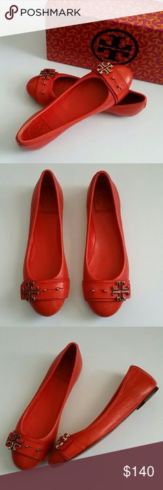 Tory Burch Elina Ballet Flats Tory Burch Elina flats NIB. Featuring a buckle type strap with Tory Burch logo. Color is Habanero pepper...a beautiful statement piece shoe. Tory Burch Shoes Flats & Loafers