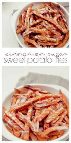 Crispy baked sweet potato fries coated in cinnamon sugar and served with a sweet vanilla icing.