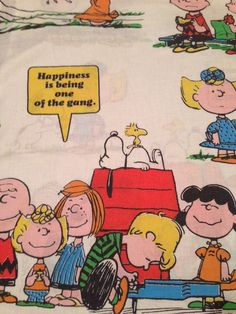 Vintage Rare 70's Peanuts Snoopy Happiness Is..Twin Bed Flat Sheet #UnitedFeatureSyndicateIncSchulz