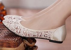 Ivory Wedding flat ballet lace flower mesh Bridal shoes Bridesmaid shoes dress