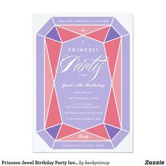 """Princess Jewel Birthday Party Invitation A cute yet sophisticated birthday party invitation for your little princess. Pink and purple princess jewel gemstone party invitation. """"Princess"""" is editable so you can customize it to suit your event. A birthday tea perhaps or jewelry making party. All text is customizable except for the script """"Party"""". Please contact me with any questions or special requests. Thanks for looking."""