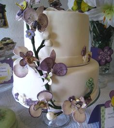 coconut, orchids, and quilted cake decorations - Google Search