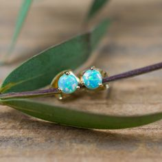 Blue Opal Studs - Look at those colors!