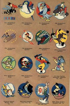 More WW II insignia used by the U.S. military (originally published in Popular Science, April 1944) - The Walt Disney Studio created an estimated 1200 insignia over the course of WW II