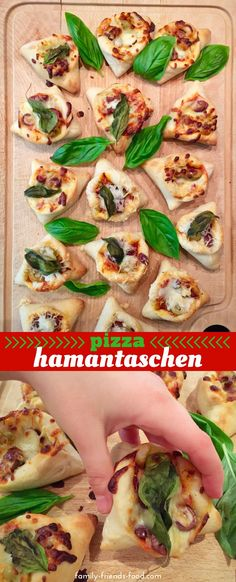 Chewy pizza crust hamantaschen with a rich filling of tomato sauce, olives and gooey, stretchy, melty mozzarella. A perfectly savoury nibble to go with drinks at your Purim party! Holiday Recipes, Dinner Recipes, Party Recipes, Pizza Recipes, Holiday Treats, Purim Recipe, Mozzarella, Donuts, Vegetarian Recipes