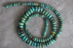 Turquoise, Rondelles, Natural, Untreated, Smooth Rondelle, Natural, 13 inch Strand, Gemstone, Beads, Luxe, Gemstones, Full Strand by StoneCreekSurplus on Etsy