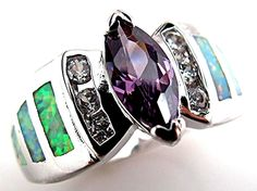 White Fire Lab Opal Inlay Purple Amethyst 925 Sterling Silver Ring Size US 7 NWT