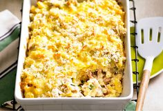 Double Corn and Ham Bake using Krusteaz boxed Honey Cornbread.I am replacing the Ham with Green Chilis as I don't eat pork. Canned Tuna Recipes, Macaroni Cheese Recipes, Fish Recipes, Seafood Recipes, Baking Recipes, Baby Recipes, Seafood Dishes, Bread Recipes