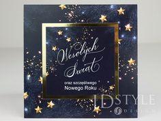 Ręcznie wykonane kartki bożonarodzeniowe firmowe granatowe ze złotą lustrzaną ramką. Chalkboard Quotes, Art Quotes, Design