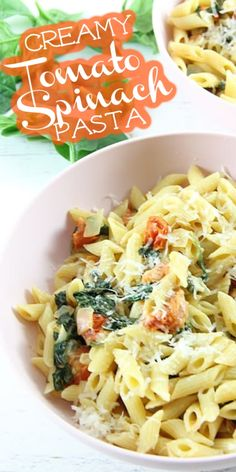Creamy Tomato Spinach Pasta is what's for dinner tonight! It's full of fresh flavors, like tomato and spinach, and ready in minutes. Pasta Recipes, Cooking Recipes, Italian Recipes, Italian Foods, Spinach Pasta, Delicious Dinner Recipes, One Pot Meals, Recipe Collection, Dinner Tonight