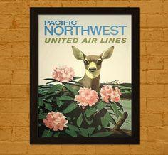 Pacific Northwest voyage Print  United Airlines par VoyagesVoyages