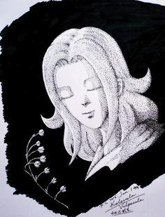 My paintings——<Saint Seiya>Hand painted.My own design Saint. 很久没有画黑白点画了,从昨天2015年的最后一天中午开始动笔,今天上午完工的~~~新年第一天上张——自己人设的狐狸座女白银卡莱瓦拉,主题:少女与铃兰。大家新年快乐~~~~~