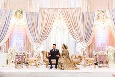 Samiya + Azhar's Wedding Reception – Photography by Azra Wedding Stage Design, Wedding Hall Decorations, Wedding Reception Backdrop, Wedding Mandap, Desi Wedding, Backdrop Decorations, Flower Decorations, Gold Wedding, Backdrops