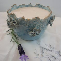 Blue Floral Pot Candle by LaluceCandles on Etsy
