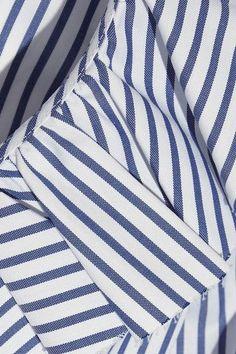 Caroline Constas - Micki Ruffled Striped Cotton Oxford Mini Dress - Blue -