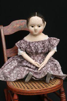 Reproduction Izannah Walker doll with pressed cloth head by Paula Walton. Anna #3 www.izannahwalker.com