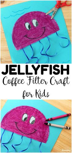 Coffee Filter Crafts for Kids: Simple Coffee Filter Jellyfish Craft - Look! We're Learning! - - Looking for some easy summer crafts for kids? Try this simple coffee filter jellyfish craft! Such a perfect simple summer craft for kids to make! Arts And Crafts For Kids Easy, Craft Work For Kids, Fun Craft, Summer Crafts For Kids, Craft Activities For Kids, Preschool Summer Crafts, Summer Crafts For Preschoolers, Craft Ideas, Ocean Activities