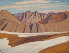 Lawren Harris - Colin Range Rocky Mountains (Rocky Mountain Sketch CXI) 10.75 x 13.875 Oil on beaver board (1924) Mountain Sketch, Tom Thomson, Group Of Seven, Fine Art Auctions, Art Of Living, Rocky Mountains, Range, Artist, Oil