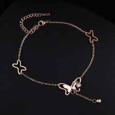 Hot Sell 14k Rose Gold Butterfly Anklet Titanium Steel Barefoot Anklet Summer Foot Jewelry Femininas Leg Chain for Women www.bernysjewels.com #bernysjewels #jewels #jewelry #nice #bags