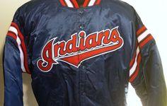 CLEVELAND INDIANS Mens Vintage Blue Satin STARTER Jacket Size Extra Large
