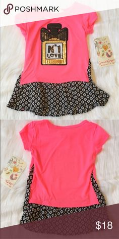 "Girl Fashion Top This is a NWT super soft little girl fashion top. Perfect for the ""Chanel"" lover 😉 Color is a bright pink/coral (a little brighter than my picture, hard to capture it) with a black and white patterned underlay. Made in the USA 🇺🇸 Boutique Shirts & Tops"