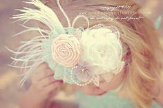 Vintage Tea Party Headband-Baby headbands-Girls Lace Headbands-Children's Headbands-Vintage Headbands-Photo Prop. $18.95, via Etsy.