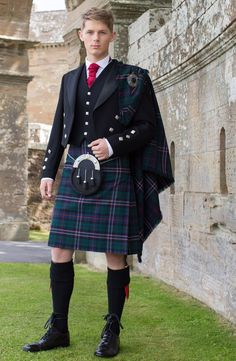 Scottish National Tartan with Prince Charlie Silver Button Jacket and waistcoat.