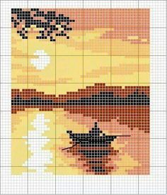 Boat on the water at sunset pattern chart for cross stitch crochet knitting knotting beading weaving pixel art and other crafting projects Cross Stitch Love, Beaded Cross Stitch, Cross Stitch Designs, Cross Stitch Embroidery, Embroidery Patterns, Cross Stitch Patterns, Hand Embroidery, Pixel Art, Cross Stitch Landscape
