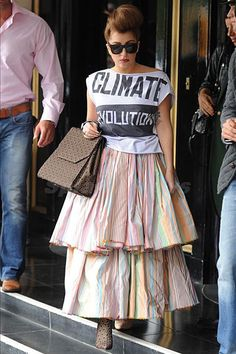 Lady Gaga in a Vivienne Westwood Climate Revolution t-shirt. Check out Climate Revolution's activism on Facebook: https://www.facebook.com/jointheclimaterevolution