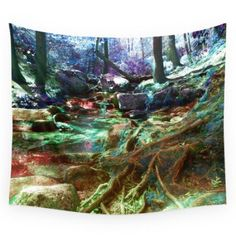 """Amazon.com: Society6 Psychedelic Forest Wall Tapestry Small: 51"""" x 60""""…"""