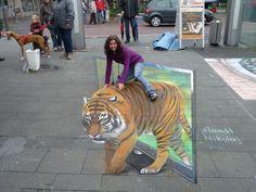 3d tiger side walk art