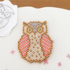 Un vieux petit gribouillage enfin transformé...#chouette #owl #jenfiledesperlesetjassume #perlezmoidamour